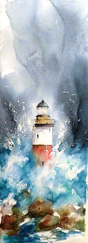 Discover great art by contemporary artist Jean Senterre. Browse artworks, buy original art or high end prints. Art Drawings Beautiful, Colorful Drawings, Watercolor Illustration, Watercolor Paintings, Watercolour, Lighthouse Painting, Watercolor Painting Techniques, Watercolor Pictures, Arte Disney