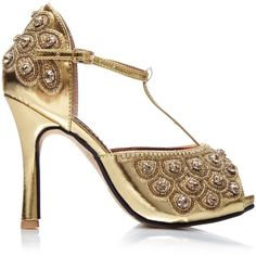 7b2d5859a0f186 Gold Flapper Hand Embellished Donna Shoes Sandals Pumps T Strap Mary... ( 75
