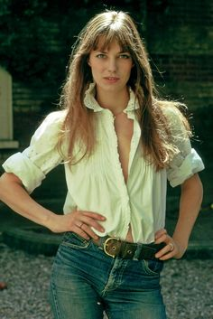 Jane Birkin, white shirt, jeans, belt