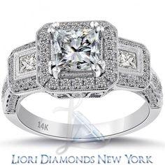 2.73 Carat D-SI2 Certified Princess Cut Diamond Engagement Ring 14k Pave Halo - Three Stone Engagement Rings - Engagement - Lioridiamonds.com