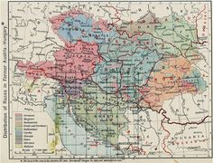 Austria-Hungary Map, Distribution of races in 1911