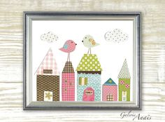 Nursery art prints - baby nursery decor - nursery wall art - kids art - kids bird - kids room decor - house -  Up On The Roof print