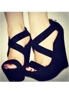Stylish Black Suede Cut-Outs Wedge Heel Sandals - Shoespie.com