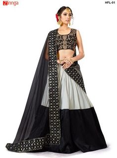 MAKE MY FASHION-Women's Beautiful Semi Stitched Tafetta Silk Lehenga - HFL-01