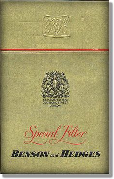 Hard Pack of Benson & Hedges Special Filter - Popular cigarettes in the to Present