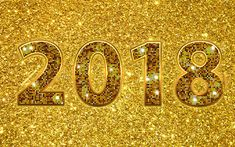 Download wallpapers 4k, 2018 year, golden digits, creative, golden background, 2018, New Year 2018