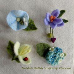 Needle felted flower brooch each sold by FunFeltByWinnie on Etsy Felt Crafts, Diy And Crafts, Wool Needle Felting, Handmade Felt, Some Ideas, Felt Art, Flower Brooch, Felt Flowers, Wool Felt