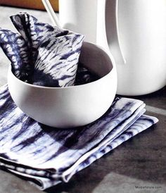 Set a distinctive table with appealing indigo-colored, tie-dyed napkins. Fine, white linen is hand-tied and dyed using traditional Japanese shibori technique. The napkins are finished with a picot edg