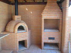 Resultado de imagen para modelos de churrasqueiras Outdoor Barbeque, Pizza Oven Outdoor, Outdoor Cooking, Diy Outdoor Kitchen, Rustic Kitchen, Pizza Oven Fireplace, Kitchen Workshop, Brick Bbq, Bungalow House Design