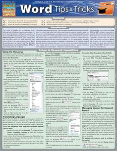 A handy resource for beginning, intermediate, or advanced Word users, this six-page guide features helpful time-saving hints so that you can get the most out of Microsoft's word-processing software. Written to follow Word 2010 (and compatible with Word 2007), this guide includes helpful screen captu