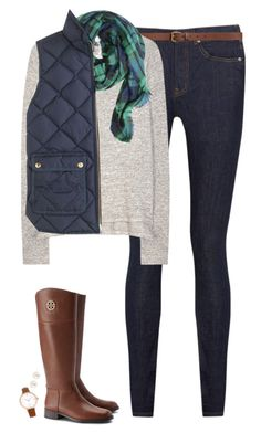 """Navy tartan & vest"" by steffiestaffie ❤ liked on Polyvore featuring Acne Studios, H&M, rag & bone, J.Crew, FOSSIL, Henri Bendel and Tory Burch"