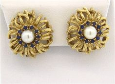 14K Gold Pearl Sapphire Earrings Featured in our upcoming auction on November 2, 2015 11:00AM EST!