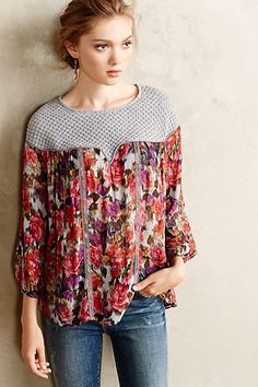 Theodosia Blouse - anthropologie.com @claireheadley I need/want/you want me to have (whichever) for Christmas!!!!!!!