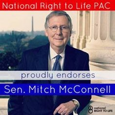 :US Senator Mitch Mc Connell, a strong pro-life advocate in the Senate Chamber of the United States Congress.