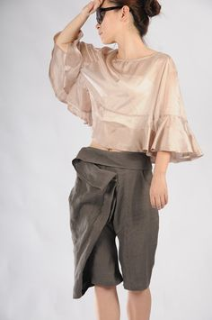 Dark gray cotton 5 pants by yuan123 on Etsy, $69.00