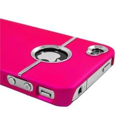 Hot Pink Deluxe W/chrome Rubberized Snap-on Hard Back Cover Case for Att Apple Iphone 4 4g