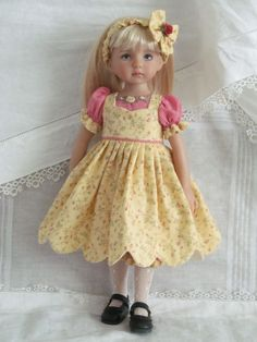 "13"" Effner Little Darling BJD fashion Yellow  red 5pc OOAK handmade set by JEC #DollClothingAccessories"