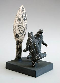 Ceramic Arts London - Jenny Southam - Dancing bears. 17cm high Hand built. White stoneware decorated with slip and sgraffito.
