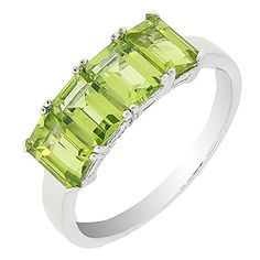 Sterling Silver Emerald Cut 4 Stones Natural Peridot Ring 2 25 CTTW >>> Want to know more, click on the image.