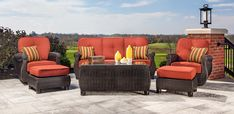 LaZBoy Outdoor Breckenridge Resin Wicker Swivel Rocker 2 Piece Patio Furniture Set Brick Red With All Weather Sunbrella Cushions * Visit the image link more details. (This is an affiliate link) Resin Wicker Patio Furniture, Patio Furniture Sets, Patio Loveseat, Sofa, Outdoor Living, Outdoor Decor, Outdoor Gardens, Brick