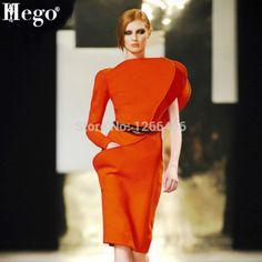 HEGO 2015 New T-SHOW Irregular Butterfly sleeve Elegant Work Style Dress Orange Long Sleeve And Sleeveless AA001 Men's Swimsuits, Swimwear, New T, New Model, Work Fashion, Fashion Dresses, Butterfly, One Piece, Orange