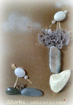 "Pebble art by Hara ""Storks""                                                                                                                                                                                 Mais"