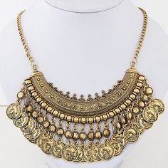 US $ 1.65 / piece x 12 pieces # Yiwu Mige [US $2.69 # TTime http://www.aliexpress.com/store/product/Fashion-Vintage-Punk-Gold-Chain-Coin-Tassel-Necklace-2015-New-Hot-Sale-Choker-Collares-Women-Statement/1748669_32461977312.html; US $2.86 # Star http://www.aliexpress.com/item/Star-Jewelry-2015-New-Design-Fashion-Alloy-Coins-choker-Statement-Necklace-For-Women-Popular-Maxi-Necklace/32464375823.html]