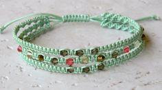 Macrame Bracelet-Seafoam Green with Swarovski crystals