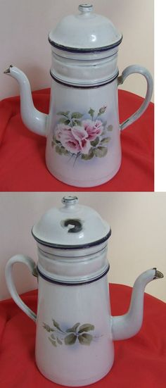 CAFETIERE EMAILLEE ANCIENNE ANNEE 1930 DECOR ROSES ANCIENNES