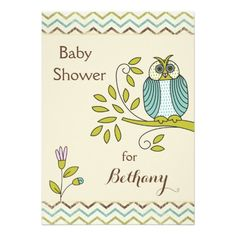 Chic Owl Chevrons Baby Shower invitations. Cute, whimsical, gender neutral or boys' invitations for baby showers. Owls printed on both sides.