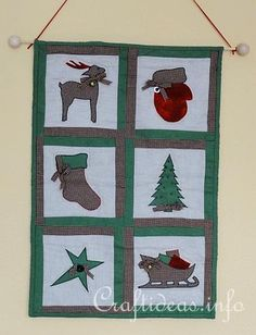 Christmas Wall Quilt / Wall Hanging, this might also be cute to just do a dear head instead of the whole dear and a present instead of the sleigh, would make it easier to make without an original pattern, something to think about anyway.