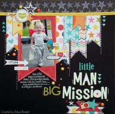 Little man, Big Mission - Scrapbook Scrapbook Layout Sketches, Scrapbooking Layouts, Scrapbook Designs, Scrapbook Paper Crafts, Scrapbook Cards, Picture Scrapbook, Baby Boy Scrapbook, Picture Layouts, Kids Pages