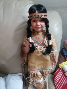 Native American Porcelain Collectible Doll Porcelain Dolls For Sale, Nativity, Native American, Captain Hat, Hair Styles, Hats, China, Facebook, Beauty