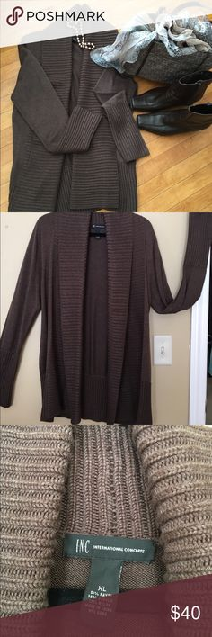 LIKE NEW INC sweater -- cozy and pristine This beautiful warm sweater was worn one time. No flaws! The quality is evident in the pics. Let me know if you have questions! INC International Concepts Sweaters Cardigans