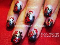 robin moses red and black gothic graveyard wedding nails. gradient floral nail art tutorial 713