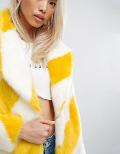 ASOS Jakke Mid Length Faux Fur Coat in Stripe £150.00 via asos.com