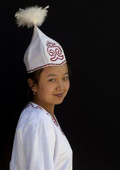 Kyrgyz woman in traditional dress.