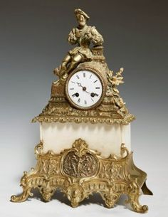 French Gilt Bronze And White Marble Figural Mantel