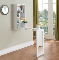 Find Kings Brand White Finish Wood Fold-Out Convertible Wall Mount Desk With Mirror online. Shop the latest collection of Kings Brand White Finish Wood Fold-Out Convertible Wall Mount Desk With Mirror from the popular stores - all in one Tiny House Furniture, Space Saving Furniture, Home Office Furniture, Cool Furniture, Furniture Design, Wooden Furniture, Mirror Furniture, Studio Furniture, Furniture Ideas