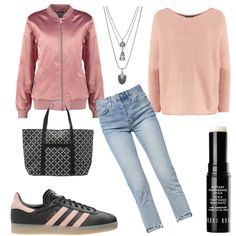 OneOutfitPerDay 2016-11-05 - #ootd #outfit #fashion #oneoutfitperday #fashionblogger #fashionbloggerde #frauenoutfit #herbstoutfit - Frauen Outfit Herbst Outfit Outfit des Tages Sommer Outfit Winter Outfit adidas Adidas Originals ADPT. Ash Bobbi Brown Bomberjacke By Malene Birger coral Halskette Handtasche Jeans rose Sneaker Strickpullover Topshop Vila