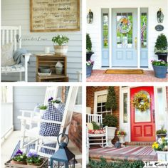 21 of the Prettiest Farmhouse Style Porches for Your Inspiration Farmhouse Style Bedrooms, Country Farmhouse Decor, Farmhouse Christmas Decor, Farmhouse Style Kitchen, Kitchen Redo, Country Christmas, Kitchen Remodel, Kitchen Cabinets To Ceiling, Rustic Cabinets