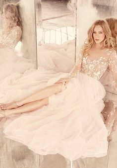 NWT Hayley Paige Remmington Wedding Gown, Non-Altered. Rosewater long sleeve A-line gown, illusion floral beaded bodice with bateau neckline and low open back, layered English net circular skirt. 2016 Wedding Dresses, Wedding Gowns, Dresses 2016, Bridal Dresses, Wedding Angels, Ceremony Dresses, Backless Wedding, Dresses Online, Wedding Ceremony