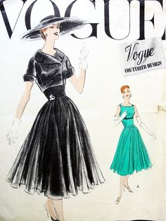 Lovely 1950s Dress ,Bolero Pattern Vogue Couturier Design 916 Circular Full or Slim Skirt Versions, Fitted Midriff, Empire Style, Double Breasted Shortie Jacket