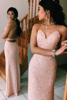 #glitter #sequined Pink #sheath #prom Dresses #backlesseveninggown OP837 #partydresses