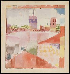 Hammamet con su mezquita  Paul Klee (alemán (nacido en Suiza), Münchenbuchsee 1879-1940 Muralto-Locarno)  Fecha: 1914 Medio: Acuarela y grafito sobre papel Dimensiones: H. 8-1/8, 7-5/8 pulgadas (W. 20,6 x 19,4 cm.) Clasificación: Dibujos Línea de crédito: La Colección Berggruen Klee, 1984