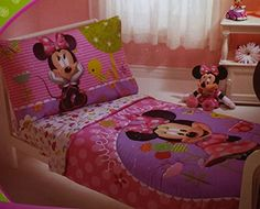 New4pc Disney Minnie Mouse Pink Purple Twin Single Girl