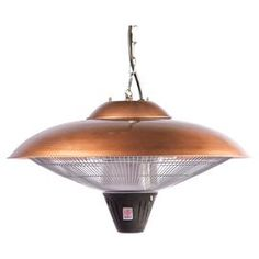Indoor/outdoor hanging electric heater. Includes chain and safety anti-tilt switch.   Product: Hanging indoor/outdoor heaterConstruction Material: SteelColor: CopperFeatures:  8' CordSilent operationSafety anti-tilt switch Dimensions: 14 H x 23 Diameter