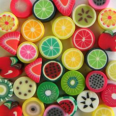 Polymer Clay Fruit Salad Beads by Bluestreak beads #colorfulworld