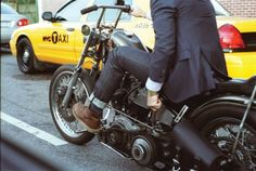 Ok, this is a man, in a suit jacket, riding a bobber, with a jockey shifter, in NYC. Why isn't this me??? #aspirations