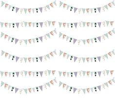 French Script Bunting Large 10 x 9 fabric by karenharveycox on Spoonflower - custom fabric